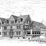 """5. Hotel Herhaus – Zweifelsfrei kann erst ab 1855 von einer Repschenrother Schankwirtschaft im """"ersten Haus am Platz"""" ausgegangen werden. Das Hotel war zu seinen besten Zeiten weit über die Grenzen des Oberbergischen Kreises bekannt. Im Jahre 1970 musste das Haus einem Wohn- und Geschäftshaus weichen."""